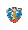 Plumber Carrying Pipe Toolbox Crest Cartoon vector image vector image