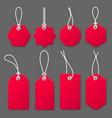 realistic red price tags with white string on gray vector image