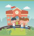school building with kids in landscape scene vector image