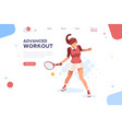 set sportswoman playing tennis vector image