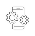 smartphone device icon with gears settings in vector image