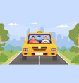 taxi driver and client man drive car and vector image vector image