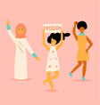 three protesting women vector image vector image