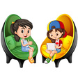 Two girls sitting on chairs vector image