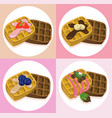 waffle set chocolate syrop and banana and fruits vector image
