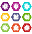watch icon set color hexahedron vector image
