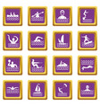 water sport icons set purple vector image vector image