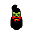 zombie hipster with beard head isolated zombies vector image vector image