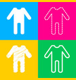 baby clothes sign four styles of icon on four vector image