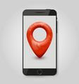 realistic modern phone with map pin gps concept vector image