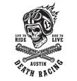 racing emblem with skull in helmet vector image