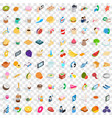 100 bakery cooking icons set isometric 3d style vector image vector image