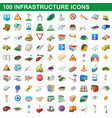 100 infrastructure set cartoon style vector image vector image