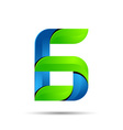 3d Number six 6 logo with speed green leaves vector image vector image