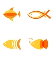 Abstract fish logos set for seafood restaurant or vector image