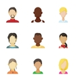 Avatar people icons set cartoon style vector image vector image