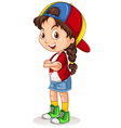 Canadian girl with a cap standing vector image vector image