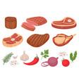 cartoon beef steaks grilled steak beef meats and vector image