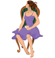 Cartoon young woman in purple dress with cap of vector image vector image