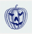carved halloween pumpkin hand drawn sketch vector image vector image