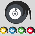 CD or DVD icon sign Symbol on five colored buttons vector image vector image