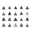 christmas tree black silhouette icons set vector image vector image