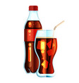 cola bottle icon soda bottle with red lable and vector image