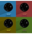 Color set Pizza Flat modern web button with long vector image