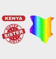 colored mosaic kenya map and grunge sister stamp vector image vector image