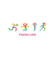 Colorful runners at finish line runing motion