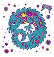 Cute little dragon in ethnic style vector image vector image