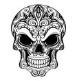 day of the dead skull with floral ornament vector image vector image