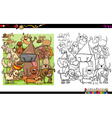 dog characters coloring book vector image vector image