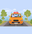 driving school lesson cartoon instructor vector image vector image