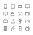 electronic device set icon outline technol vector image