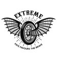 extreme motorcycle wheel with bat wings design vector image vector image