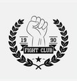 fight club logo with fist wreath star ribbon vector image vector image