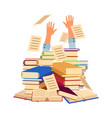 flat man hands sticking out books pile heap vector image