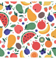 fruits seamless pattern hand drawn doodle vector image
