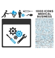 Gear Tools Calendar Page Icon With 1000 Medical vector image vector image