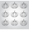 halloween carved pumpkins outline icons set eps10 vector image vector image