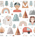 hand drawn seamless pattern with summer camping vector image vector image