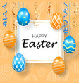 happy easter background decorative text hanging vector image vector image