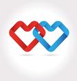 Hearts Tied Ribbon Origami Logo Design vector image