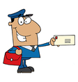 Hispanic Mail Man Holding A Letter vector image vector image
