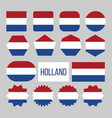holland flag collection figure icons set vector image vector image