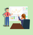 man presenting growing chart and graphs on board vector image vector image