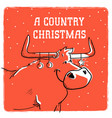 merry country christmas card with bull vector image vector image