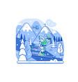 mountain skiing concept scene in line art vector image