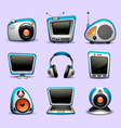multimedia icons blue color vector image vector image